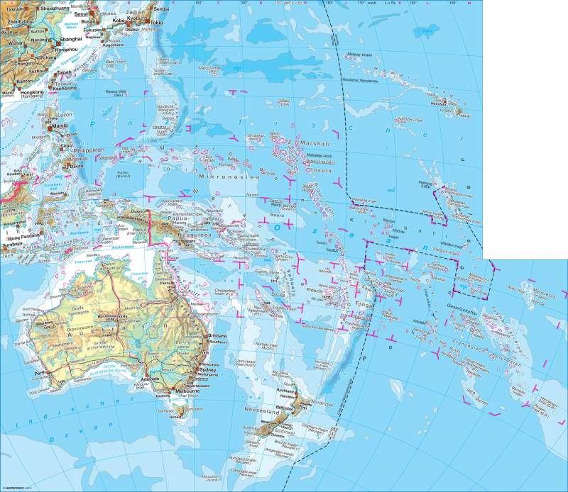 Diercke Weltatlas - Kartenansicht - Australien / Ozeanien - physisch ...