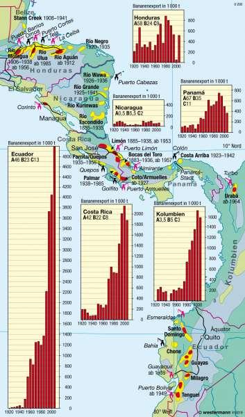 Mittelamerika   Bananenanbau   Amerika - Landwirtschaft   Karte 195/3