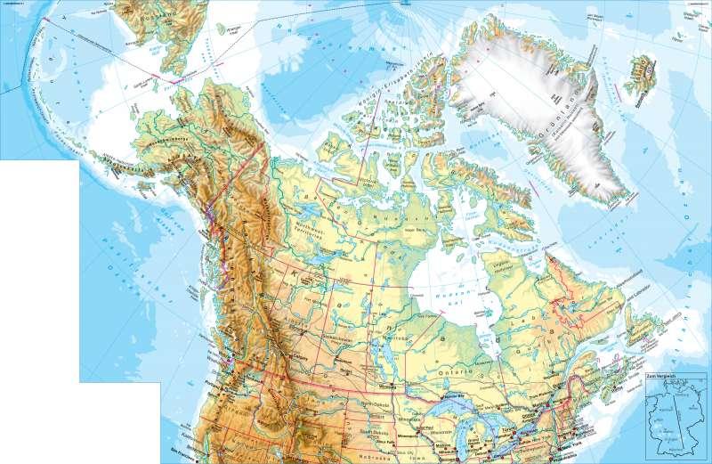 Nordamerika (nördlicher Teil) | physisch | Nordamerika (nördlicher Teil) - physisch | Karte 198/1