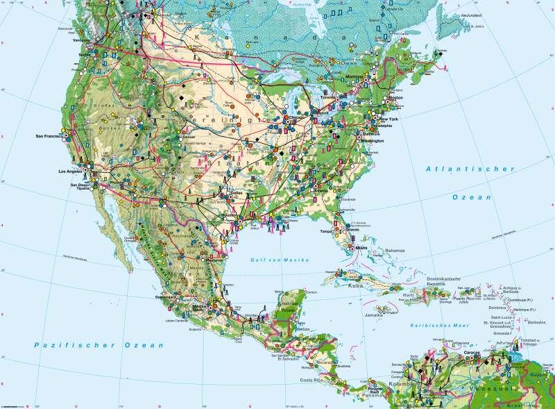 Karte Nordamerikas.Diercke Weltatlas Kartenansicht Nordamerika Südlicher Teil Und
