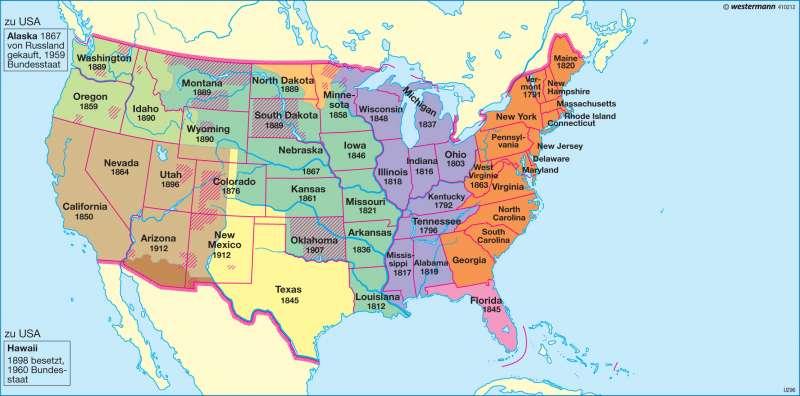 Politische Entwicklung |  | USA - Geschichte und Gegenwart | Karte 204/2