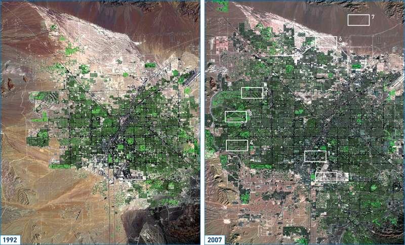 Las Vegas | Satellitenbildvergleich 1992 und 2007 | USA - Tourismus im Südwesten | Karte 206/3