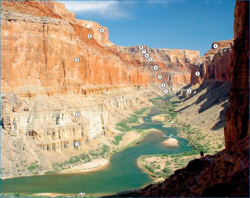 Grand Canyon | Gesteine und Landschaftsformen | USA - Tourismus im Südwesten | Karte 207/5