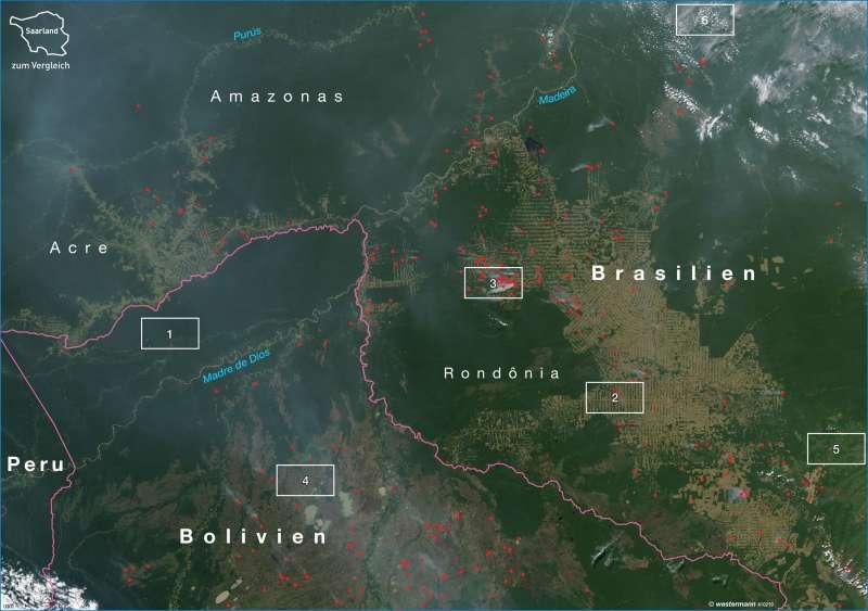 Acre und Rondônia | Rodungsstrukturen | Südamerika - Regenwald | Karte 217/3