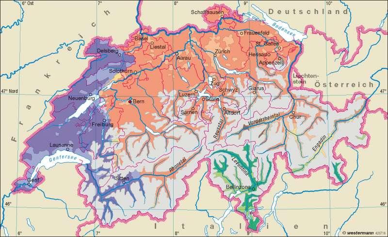 Schweiz | Sprachen | Schweiz – Verwaltung und Sprachen | Karte 37/3