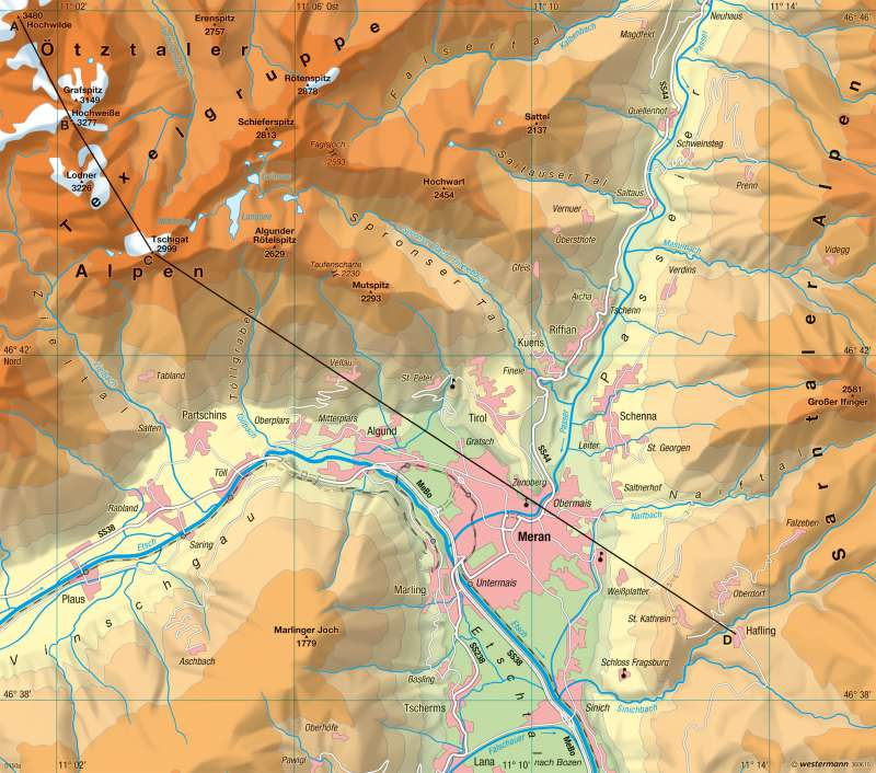 Meran und Umgebung | physische Karte | Physische Karte – Meran und Umgebung | Karte 12/1