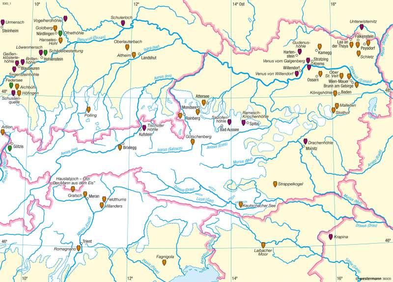 Ostalpen | Vergletscherung in der Würmeiszeit | Südtirol – Geologie und Vergletscherung | Karte 17/3