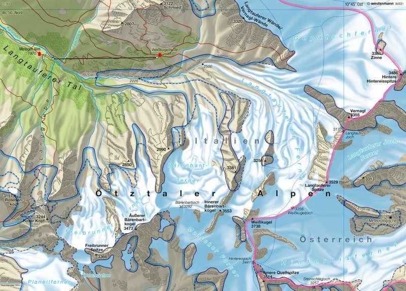 Langtauferer Ferner | Gletscherrückgang | Südtirol – Geologie und Vergletscherung | Karte 17/4