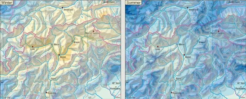 Niederschläge |  | Euregio Tirol-Südtirol-Trentino – Landwirtschaft/Klima | Karte 19/2