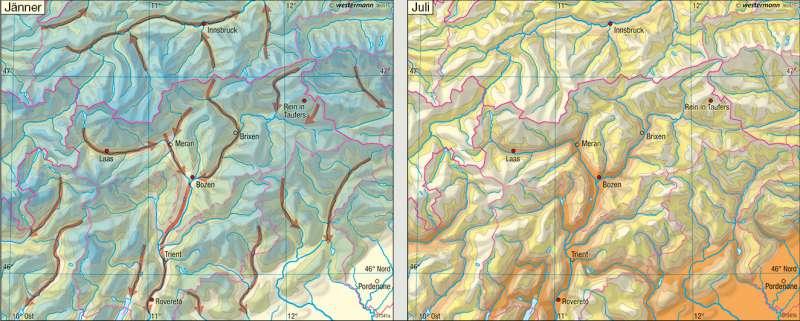 Temperaturen      Euregio Tirol-Südtirol-Trentino – Landwirtschaft/Klima   Karte 19/3