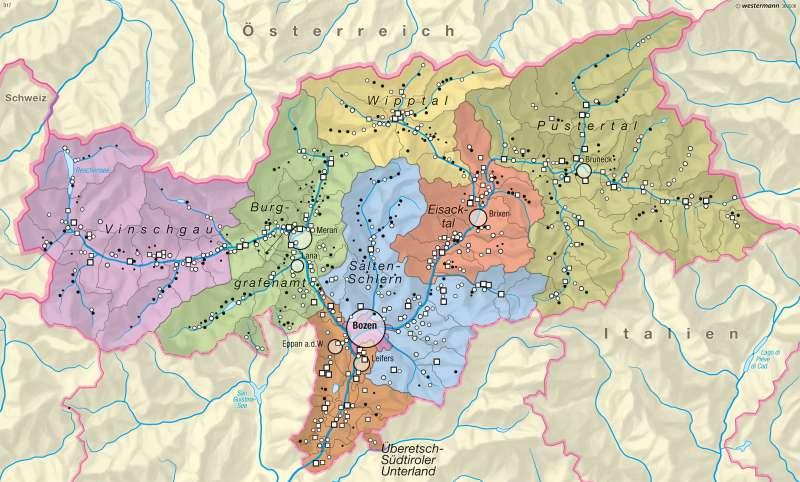 Wohnbevölkerung      Südtirol – Bevölkerung/Raumstruktur   Karte 24/1