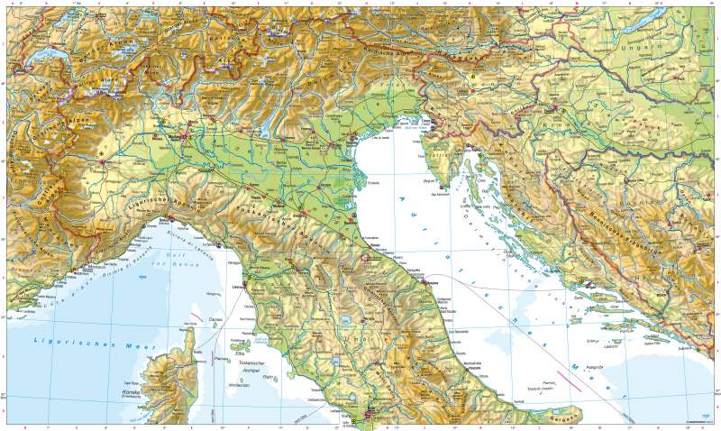 Norditalien Karte.Diercke Weltatlas Kartenansicht Italien Südlicher Teil