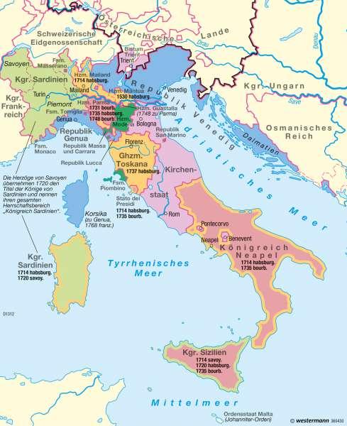Italien 1748 |  | Italien – Nationalstaatsbildung | Karte 50/1