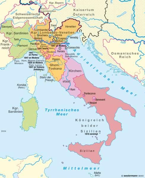 Diercke Weltatlas Kartenansicht Italien 1815 Restauration