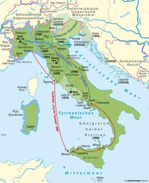 Italien | Nationalstaat (bis zum 2. Weltkrieg) | Italien – Nationalstaatsbildung | Karte 50/4