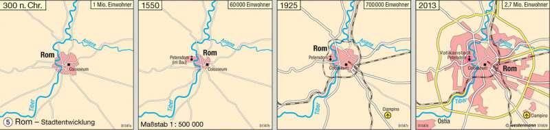 Rom | Stadtentwicklung | Italien – Hauptstadt Rom | Karte 51/5