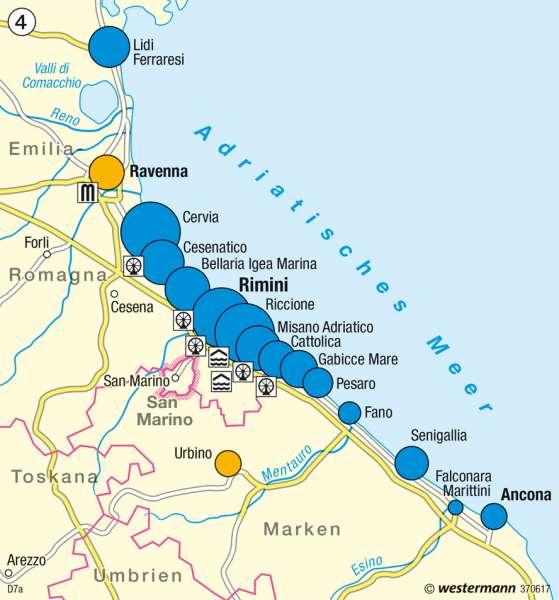 Touristikzentrum Adriaküste      Italien – Tourismus   Karte 55/4