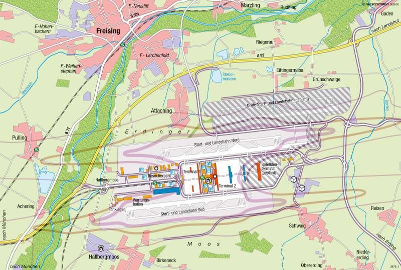 Münchener Flughafen   Ausbau   Alpenvorland   Karte 75/3