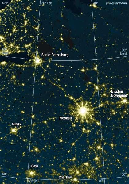 Ballungsraum Moskau bei Nacht |  | Moskau | Karte 85/2