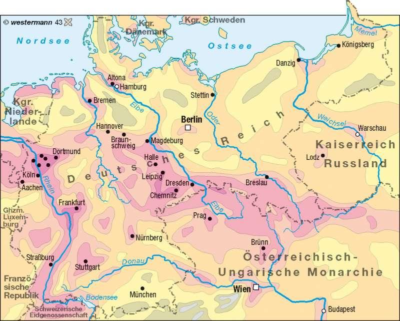 Bevölkerungsdichte 1900 |  | Deutschland - Bevölkerungsdichte | Karte 74/2