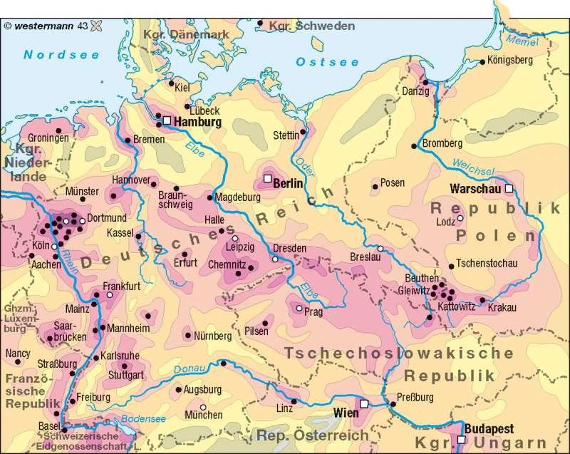 Bevölkerungsdichte 1937 |  | Deutschland - Bevölkerungsdichte | Karte 74/3