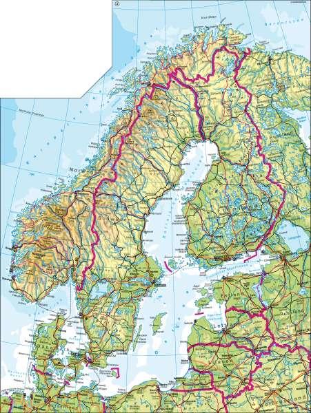 Skandinavien | physisch | Skandinavien/Baltikum - physisch | Karte 90/2