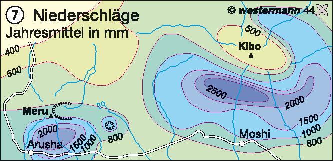 Niederschläge   Jahresmittel in mm   Afrika - Landwirtschaft/Desertifikation   Karte 135/7