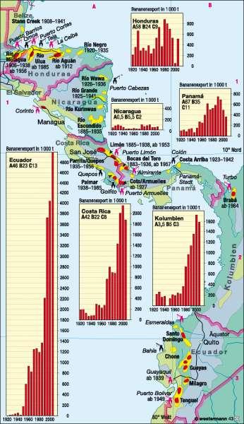 Costa Rica Karte Mittelamerika.Diercke Weltatlas Kartenansicht Mittelamerika Bananenanbau