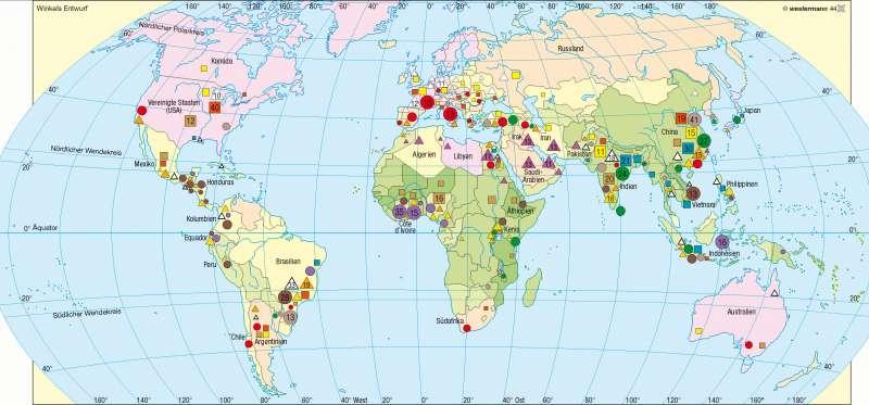 Nahrungs- und Genusspflanzen/Beschäftigte in der Landwirtschaft |  | Erde – Agrarwirtschaft | Karte 178/1