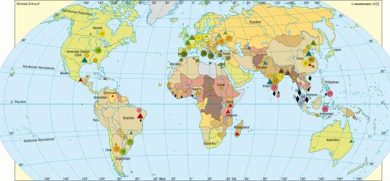 Agrarische Rohstoff/Anteil der Landwirtschaft am Bruttoinlandsprodukt |  | Erde - Agrarwirtschaft | Karte 240/2