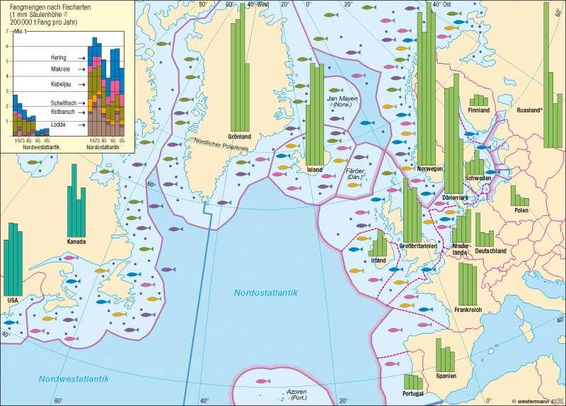 Nordatlantik | Fischfang | Erde - Agrarwirtschaft | Karte 241/4