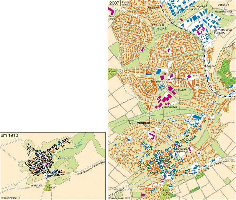 Anspach (Taunus) | Wandel der Dorfstruktur 1910 / 2007 | Deutschland – Wandel ländlicher und städtischer Siedlungen | Karte 54/2