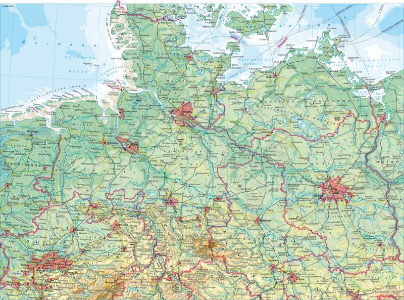 Deutschland nördlicher Teil   physisch   Deutschland nördlicher Teil - physisch   Karte 48/1