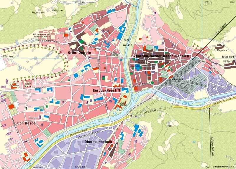 Bozen   Stadtentwicklung, Landschaftsverbrauch   Südtirol – Räume im Wandel   Karte 22/1