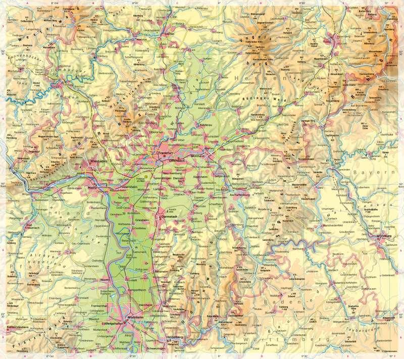 Süd- und Mittelhessen | Physische Karte | Süd- und Mittelhessen - Physische Karte | Karte 10/1