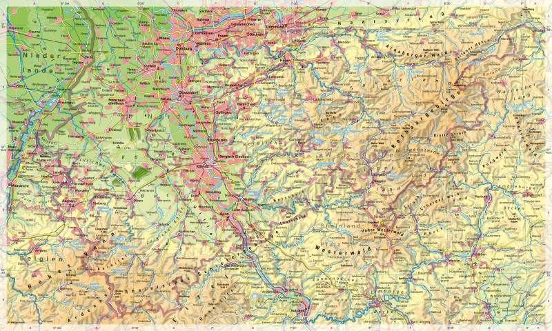 Nordrhein-Westfalen(südlicherTeil)   Physische Karte   Nordrhein-Westfalen (südlicher Teil) - Physische Karte   Karte 16/1