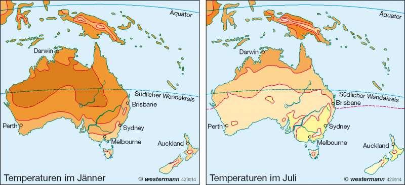 Temperaturen |  | Australien und Ozeanien – physische Übersicht/Klima | Karte 127/5