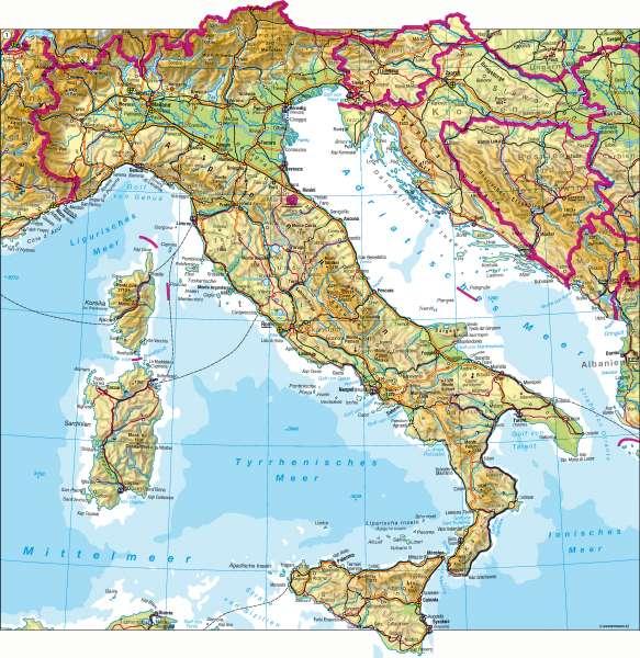 Apenninenhalbinsel | physisch | Apenninenhalbinsel – physisch | Karte 44/1