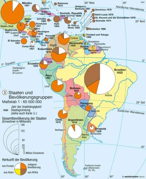 Staaten und Bevölkerungsgruppen |  | Mittel- und Südamerika - Bevölkerung/Staaten | Karte 210/3