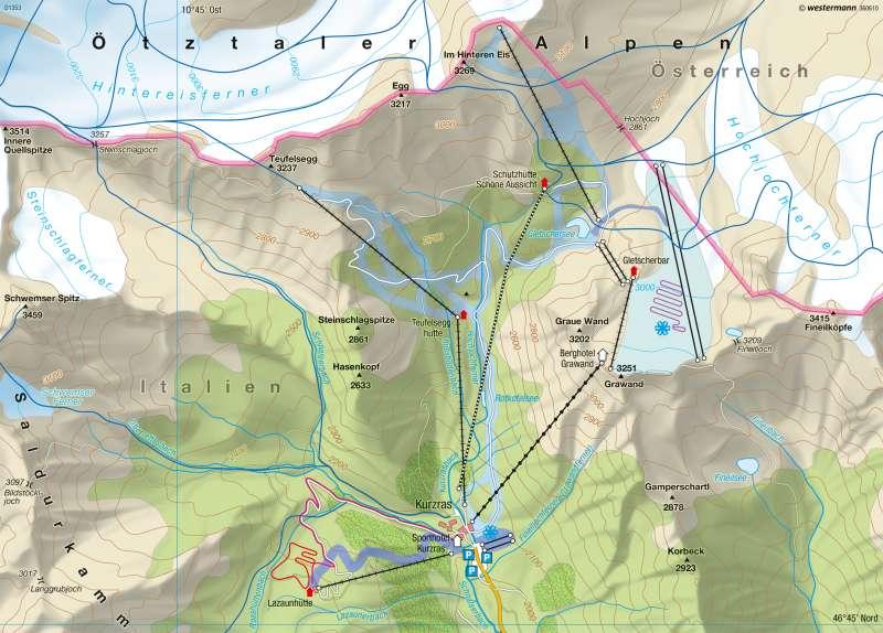 Schnals | Schneesicherheit/Wintersaison | Südtirol – Wintertourismus | Karte 27/2