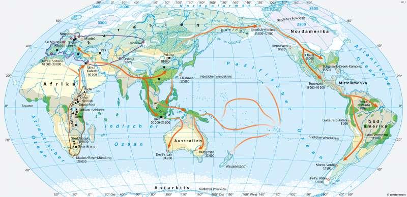   Menschen besiedeln die Erde   Geschichte - Ur- und Frühgeschichte   Karte 192/1