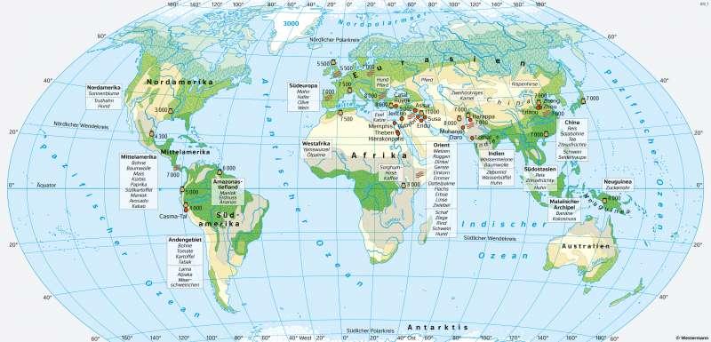 Erde | Neolithische Revolution und frühe Hochkulturen | Geschichte - Ur- und Frühgeschichte | Karte 192/2