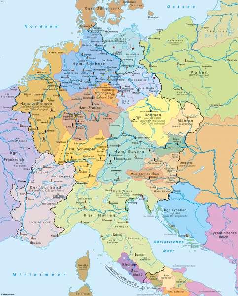 | Heiliges Römisches Reich um 1000 n.Chr. | Geschichte - Früh- und Hochmittelalter | Karte 199/3