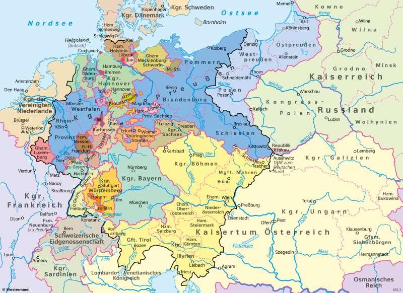 Mitteleuropa | Deutscher Bund 1815 | Geschichte - Deutschland im 19.Jahrhundert | Karte 208/1
