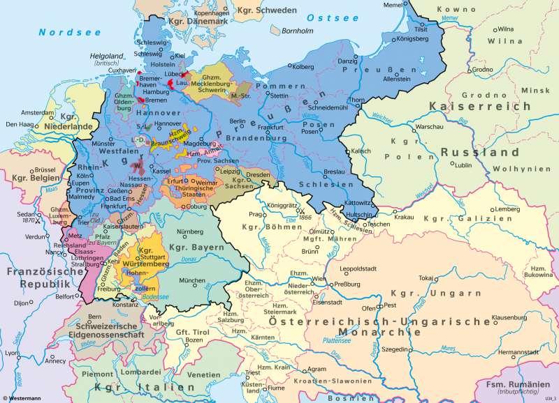Mitteleuropa | Deutsches Kaiserreich 1871 | Geschichte - Deutschland im 19.Jahrhundert | Karte 208/2