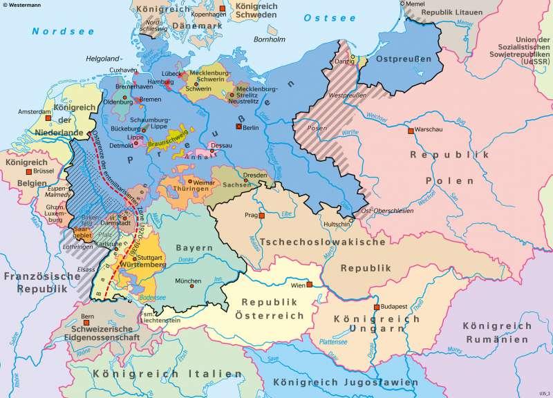 DeutschesReich | Weimarer Republik 1930 | Geschichte - Territorialer Wandel in Europa von 1914 bis 1949 | Karte 214/3