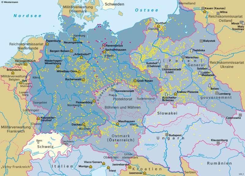 DeutschesReich | Nationalsozialistische Gewaltherrschaft 1942 | Geschichte - Territorialer Wandel in Europa von 1914 bis 1949 | Karte 215/6