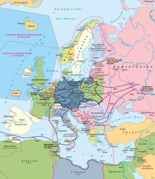 | Deutschland im Europa des Zweiten Weltkrieges (1.9.1939–8.5.1945) | Geschichte - Der Zweite Weltkrieg und seine Ergebnisse | Karte 216/2