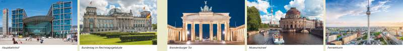 Berlin | Hauptbahnhof/Bundestag im Reichstagsgebäude/Brandenburger Tor/Museumsinsel/Fernsehturm | Berlin - Bundeshauptstadt | Karte 50/1