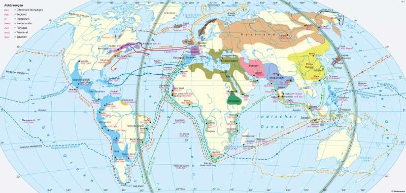 Erde | Entdeckungsreisen und koloniale Eroberungen (15.bisMitte17.Jahrhundert) | Geschichte - Geographische Entdeckungen | Karte 202/5